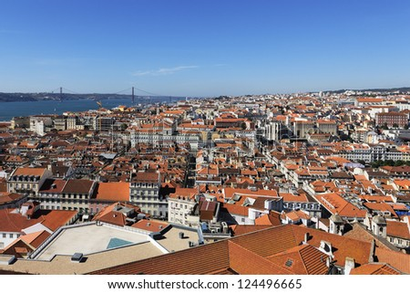 horizontal view of Lisbon with red bridge, Portugal
