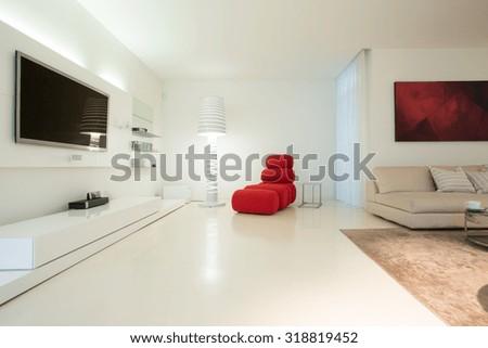 Horizontal view of modern living room design #318819452