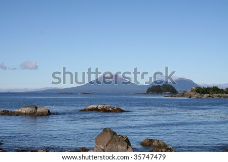 Horizontal view of Mt. Edgecumbe volcano near Sitka, Alaska