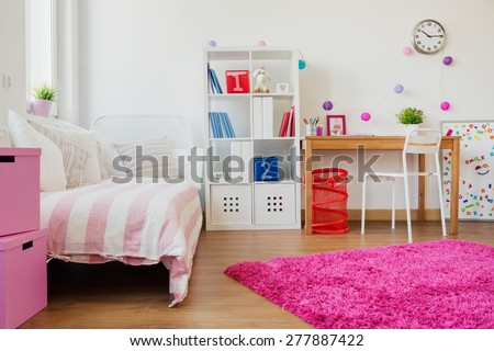 Horizontal view of room design for schoolgirl #277887422