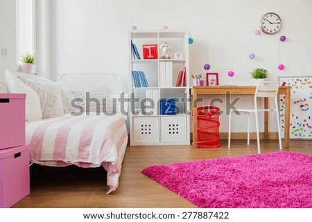 Horizontal view of room design for schoolgirl