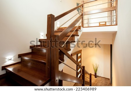Horizontal view of wooden stairs at home