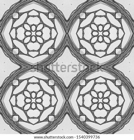 Horizontally seamless design. Ornamental Geometry. Ornamental Geometry. Black and White. Dressing element Antique Element Hand Drawn. Kaleidoscope Effect. Floral Elements Floral Elements