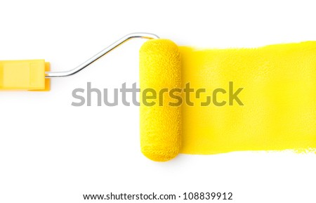 Horizontally viewed yellow painting roller paints with yellow ink, isolated on white
