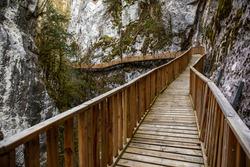 Horma Canyon, Kure Mountains National Park, Kastamonu, Turkey. Wooden walking path. River.