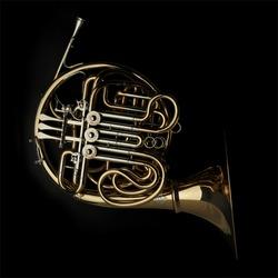 Horn instrument on dark background