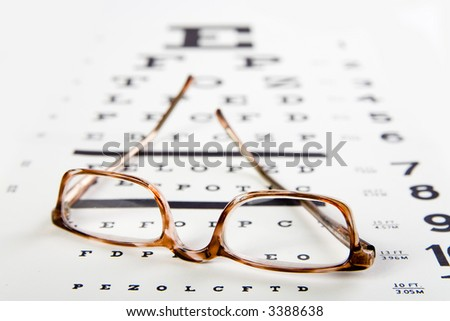 horn rim eyeglasses sittin on top of an eye exam chart, forground sharp and background soft