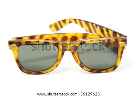 horn-rimmed sunglasses isolated on a white background