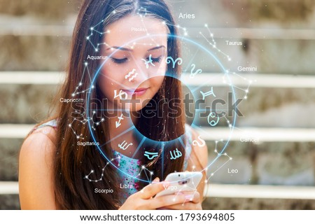Horoscope astrology zodiac illustration with woman holding a phone