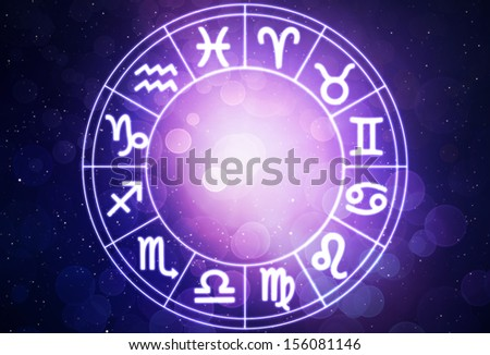 Horoscope circle on beautiful space background