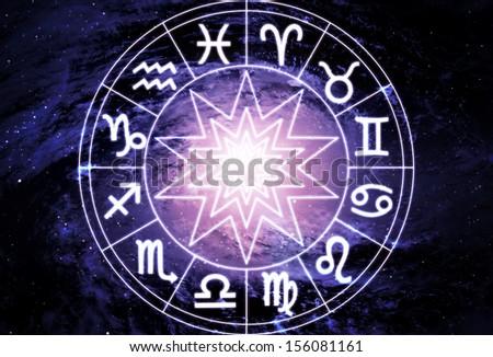 Horoscope circle on beautiful space background