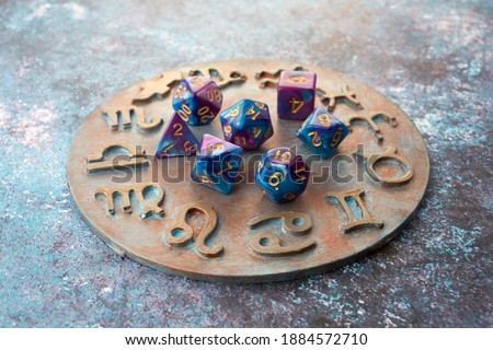 Horoscope circle with divination dice. Fortune telling and astrology predictions.