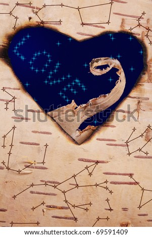 Horoscope of love. Astral map on birchen cork and starlight sky with inscription from star \