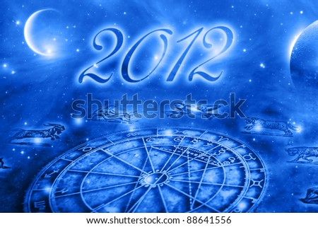 horoscope over blue background with planets and 2012