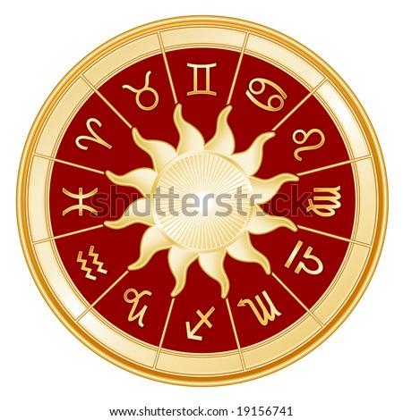 Horoscope Signs of the Zodiac.  12 astrology symbols, golden sun, red background. Aquarius, Aries, Cancer, Capricorn, Gemini, Leo, Libra, Pisces, Sagittarius, Scorpio, Taurus, Virgo.