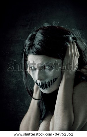 horrible girl with scary mouth...
