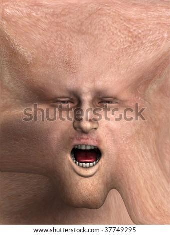 Horrible screaming face