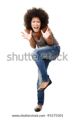 Horrified young woman in panic yelling, isolated on white