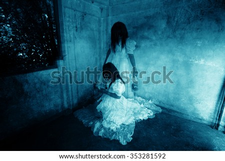 Horror Background Of Mysterious Twins Woman In White Dress Standing And Sitting Abandon Building
