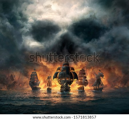 Horror 3D illustration of pirate ship coming in front from front