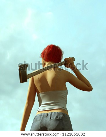 Stock Photo Horror movie scene of woman carrying an Axe,3d illustration
