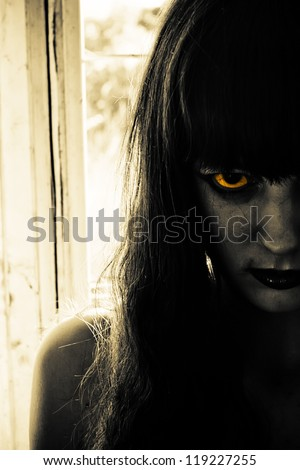 Horror portrait of a scary woman