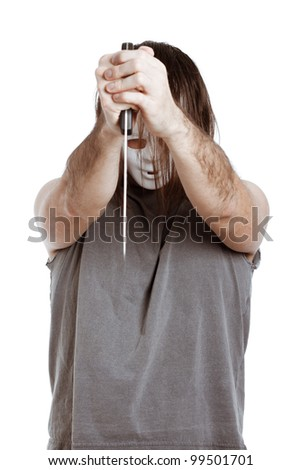 Horror scary masked man holding knife, isolated on white background.