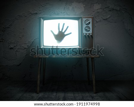 Horror scary movie concept. Hand of ghost on screen of vintage tv in haunted house. 3d illustration Foto stock ©
