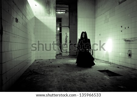 Horror scene of a scary woman. Apparitions of the ghost.