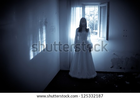Horror Scene of a Scary Woman's Ghost