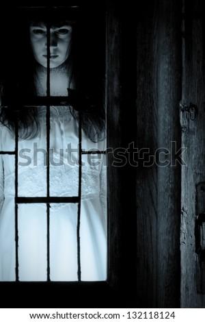 Horror scene of a scary woman's portrait