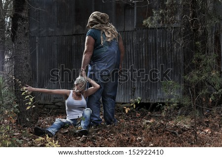 Scary woods photo edit - Horror Scene Of A Woman Being Dragged By The Hair By A