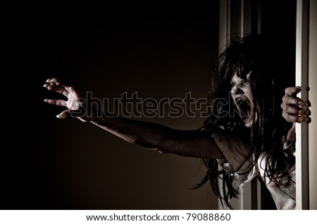 Horror Scene of a Woman Possessed - stock photo