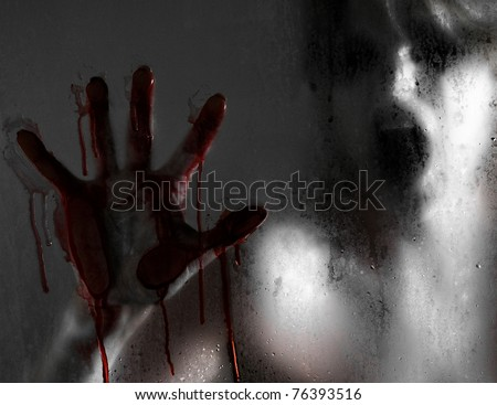 Stock Photo Horror Scene of a Woman with Bloody Hand against Wet Shower Glass