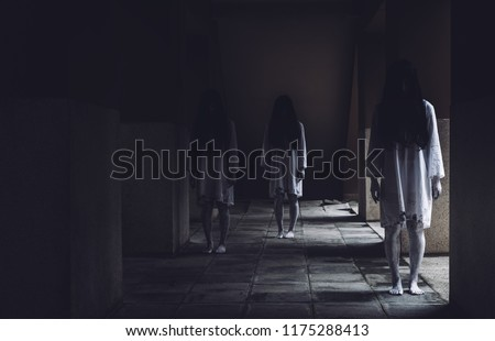 Horror scene of ghost woman death movie halloween festival in the dark house nightmare screaming on hell is monster devil girl or female dead characters at night evil dressing wraith spirit theme. - Shutterstock ID 1175288413