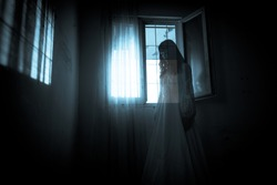 Horror scene of scary woman's ghost