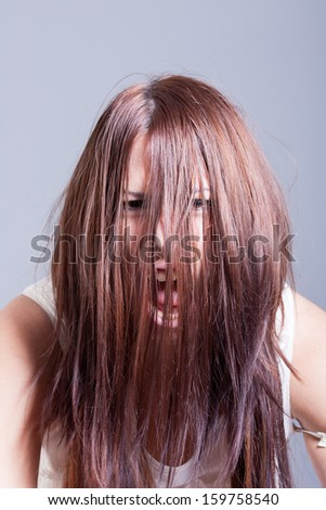 horror scene of woman possessed