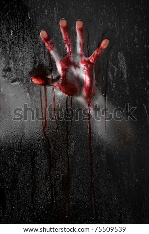 Horror Scene with Bloody Hand against Wet Shower Glass