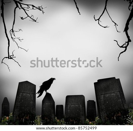 horror scene with cemetery and raven silhouette