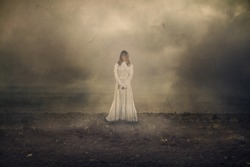 Horror scene with white dress scary girl