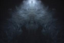 horror smoke texture background in black room . projector evil light beam in the air . ghost screening concept .