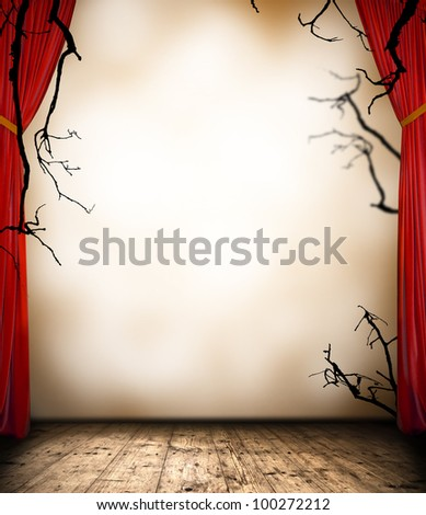 Horror stage with curtain