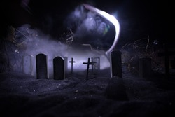 Horror view of cemetery miniature at night, Horror Halloween concept. Selective focus