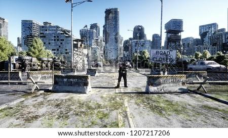 horror zombie crowd walking. Destroyed city. Apocalypse view, concept. 3d rendering.