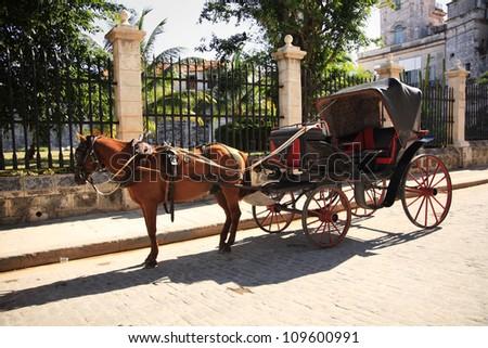 Horse and cart in Havana Cuba - stock photo