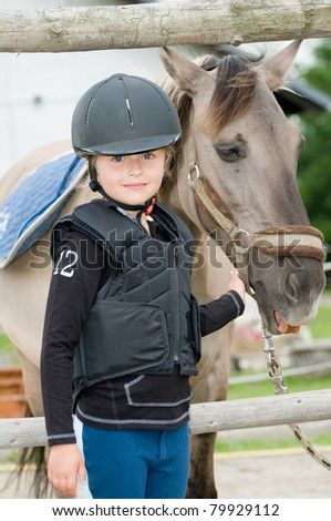 Horse and jockey - little girl and her best friend #79929112