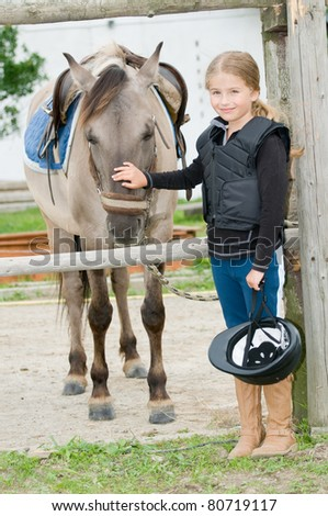Horse and jockey - little girl and her best friend #80719117