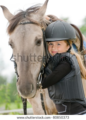 Horse and jockey - little girl and her best friend #80850373