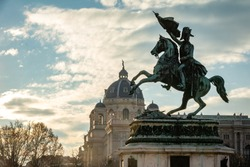 Horse and rider (Archduke Charles) memorial at the Hero Square in Vienna, Austria. Archduke Charles was the main military reformer in the Austrian Empire during the wars against Napoleon.