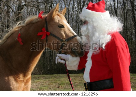 horse and santa facing each other